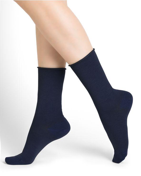 Roll top wool socks