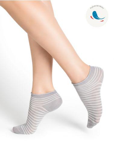 Ultra-fine stripe cotton ankle socks